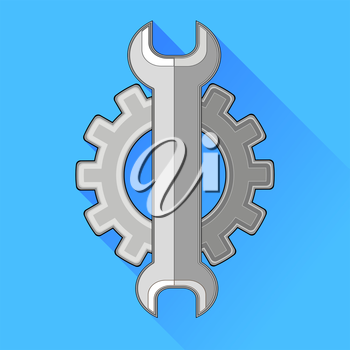 Wrench Gear Icon Isolated on Blue Background.