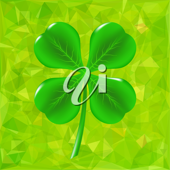 Green Leaf Clover Isolated on Green Background