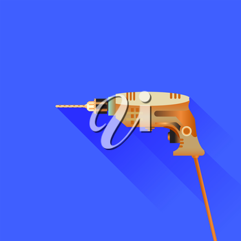 Drill Icon Isolated on Blue Background. Long Shadow