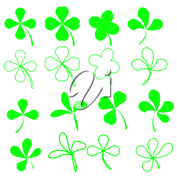 Set of Green Leaves Icons Isolated on White Background. Symbols of Patricks Day. Green  Shamrocks