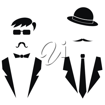 Gentleman Icons Isolated on White Background. Man Icons