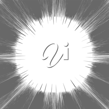 Comic Book Grey and White Radial Lines Background Rectangle Fight Stamp for Card Manga or Anime Speed Graphic Texture Superhero Frame Explosion illustration Sun Rays or Star Burst Element.