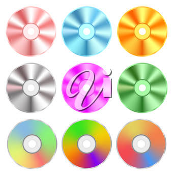 Set of Realistic Colorful Compact Discs Isolated on White Background
