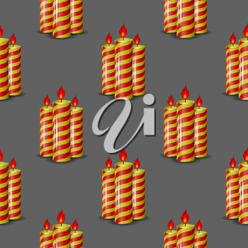 Red Yellow Wax Candles Seamless Pattern Isolated on Grey Background. Burning Candles Set.