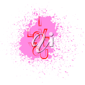 I Love You Red Text with Pink Splatter on White Background
