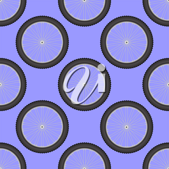 Bicycle Wheel Icon Seamless Pattern Isolated on Blue Background