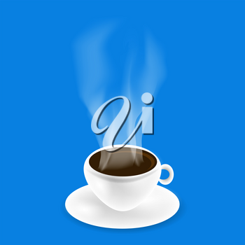 White Cup of Black Natural Coffee on Blue Background.