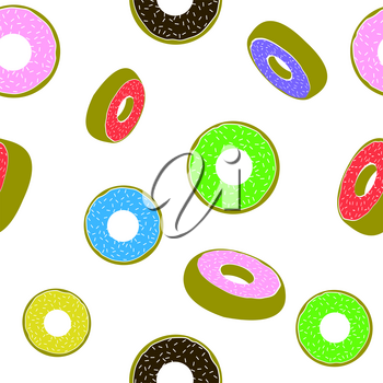 Sweet Glazed Colorful Donut Seamless Pattern on White Background. Fast Food Texture