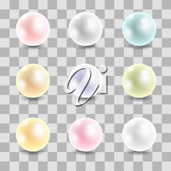 Colored Pearl Set Isolated on Checkered Background