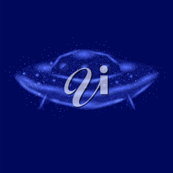 Polygonal Space Ship Isolated on Blue Background
