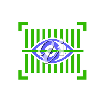 Biometric Identification System for Eyes. Iris Verification Person on White Background. Face Recognition Icon. Human Digital Identity