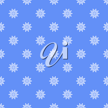 Snowflakes Seamless Pattern on Blue Background. Winter Christmas Decorative Texture