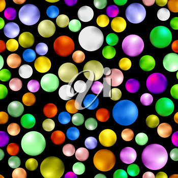 Colorful Sweet Gumball Seamless Pattern Isolated on Black Background