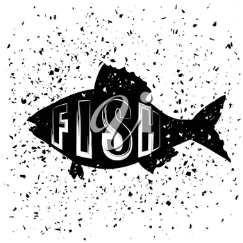 Typography Design of Print with  Sea Fish Silhouette on Grunge Background