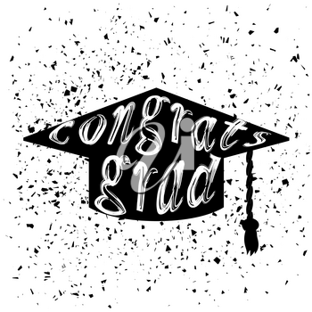 Silhouette of Graduation Cap with Lettering on White Background