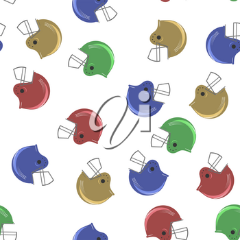 Colored Sport Football Helmet Seamless Pattern on White Background