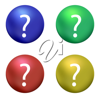 Question Mark with Blue Red Green Yellow Ball on White Background. Simple Icon for web Sites, Web Design, Mobile App, Info Graphics