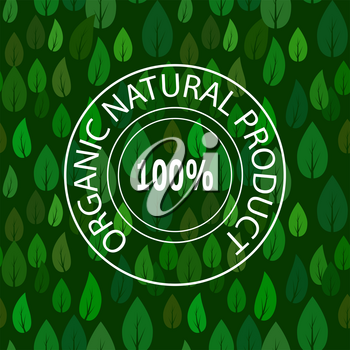 Stamp for Natural Organic Product on Green Leave Seamless Pattern.