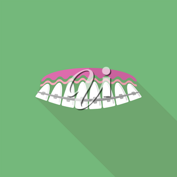Medical Braces Teeth. Dental Care Background. Orthodontic Treatment. Cartoon Opening Mouth.