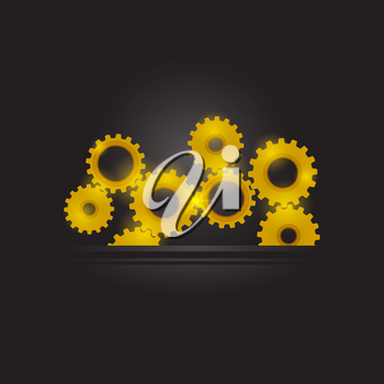 Gear Pattern. Industrial Background. Techno Background with Geometric Gold Gear Wheels. Space for Text. Modern Mechanism Industrial Concept. Technology Cog Pattern. Mechanical Tool
