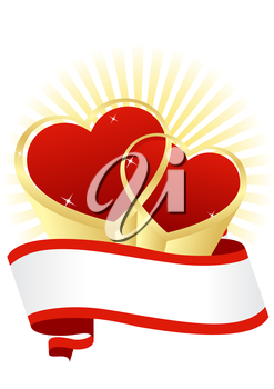 greeting card with hearts on a white background Valentine's Day