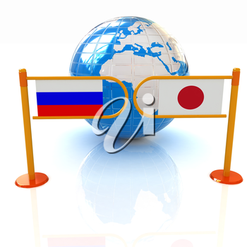 Three-dimensional image of the turnstile and flags of Japanese and Russia on a white background