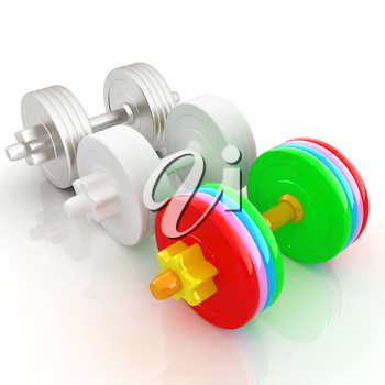 Colorfull dumbbells on a white background