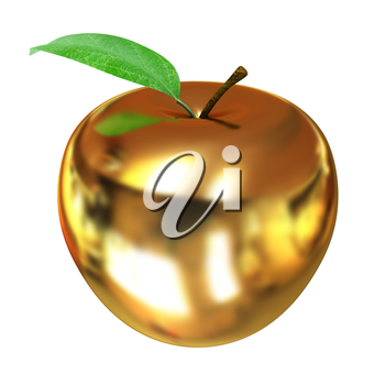 Gold apple isolated on white background. Series: Golden apple under different environments