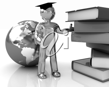 The world is opened for you. Global Education on a white background