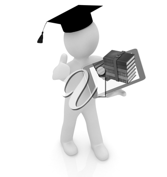 3d white man in a grad hat with thumb up,books and tablet pc - best gift a student on a white background