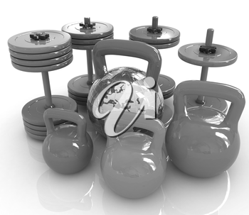 Colorful weights and dumbbells and earth. Global on a white background