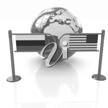 Three-dimensional image of the turnstile and flags of USA and Russia on a white background