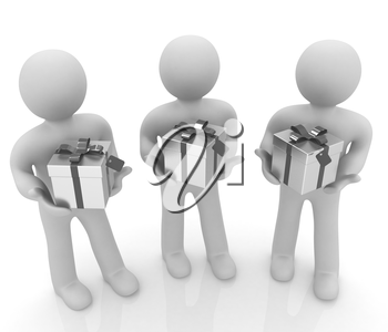 3d mans and gift with red ribbon on a white background