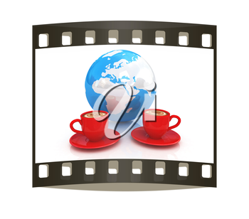 Coffee Global World concept on a white background. The film strip
