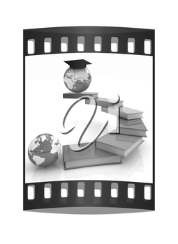 The growth of education. Globally. On a white background. The film strip