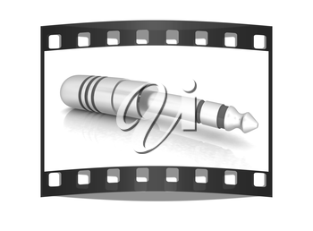Electric plug on a white background. The film strip