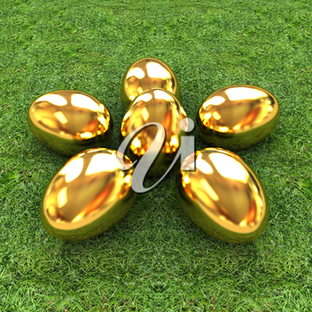 Gold Easter eggs as a flower on a green grass
