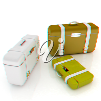 travel bags on white . 3D illustration. Anaglyph. View with red/cyan glasses to see in 3D.
