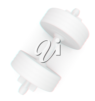 White dumbbells on a white background. 3D illustration. Anaglyph. View with red/cyan glasses to see in 3D.