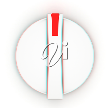 3d white knob on white background. 3D illustration. Anaglyph. View with red/cyan glasses to see in 3D.