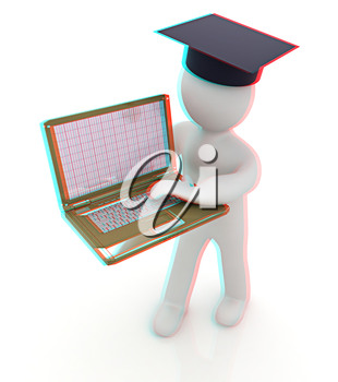 3d man in graduation hat with laptop on a white background. 3D illustration. Anaglyph. View with red/cyan glasses to see in 3D.