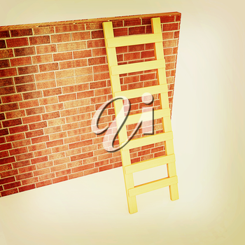 Ladder leans on brick wall on a white background. 3D illustration. Vintage style.