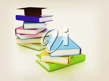Graduation hat with books on a white background. 3D illustration. Vintage style.
