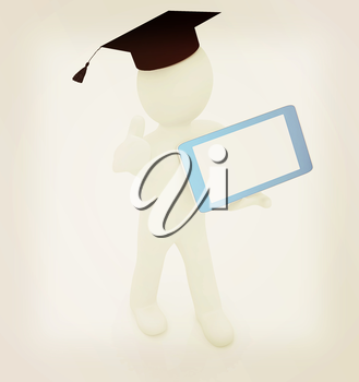 3d white man in a grad hat with thumb up and tablet pc - best gift a student on a white background. 3D illustration. Vintage style.