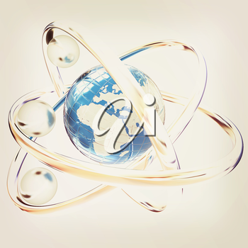 3d atom isolated on white background. Global concept. 3D illustration. Vintage style.