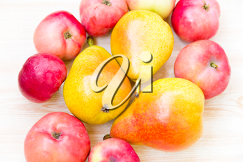 Photo of background with red apples and pears
