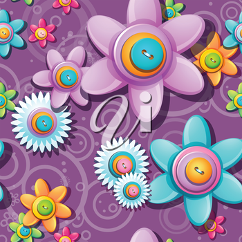 Royalty Free Clipart Image of a Flower and Button Background