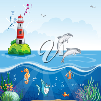 Royalty Free Clipart Image of Underwater Life and Dolphins Jumping Near a Lighthouse