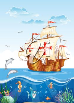 Royalty Free Clipart Image of a Clipper Ship and Marine Life