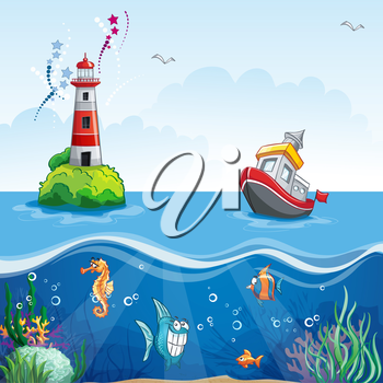 Royalty Free Clipart Image of an Ocean Scene With a Lighthouse and Boat